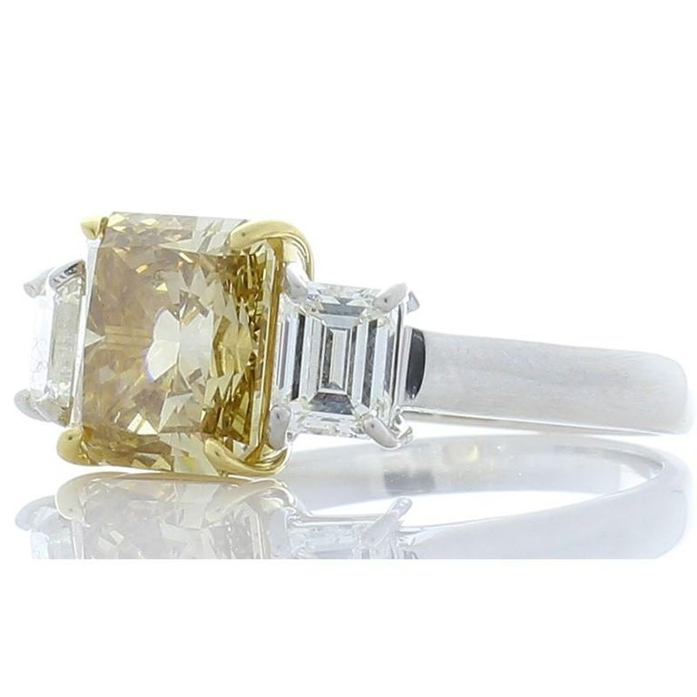 3.00 Carat Radiant Cut Fancy Yellow Diamond Cocktail Ring in Platinum For Sale 1