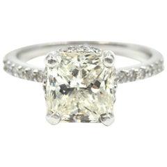 3.00 Carat Radiant Cut GIA Certified Diamond Engagement Ring 14 Karat White Gold