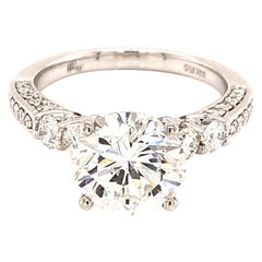 3.00 Carat Round Brilliant Cut Diamond Engagement Ring GIA Certified H/VS2