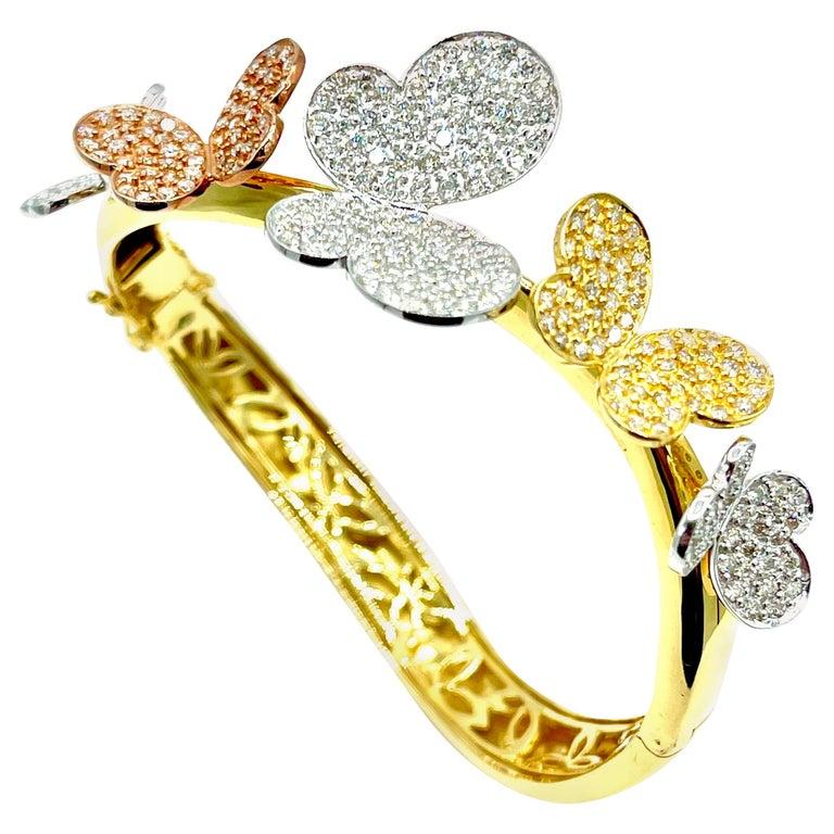 3.00 Carat Round Brilliant Diamond 18 Karat Butterfly Bangle Bracelet For Sale