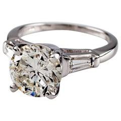 3.00 Carat Round Brilliant Diamond 18 Karat White Gold Engagement Ring