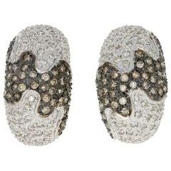 3.00 Carat Round Brilliant Diamond Earrings, 14 Karat White Gold Pierced J-Hoops