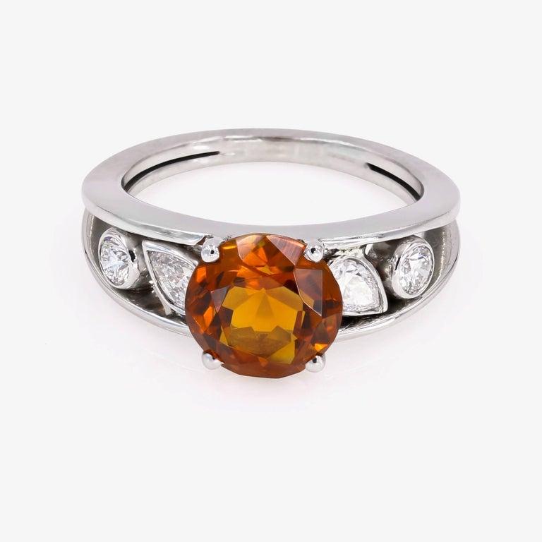Contemporary 3.00 Carat Round Citrine and Diamond Ring For Sale