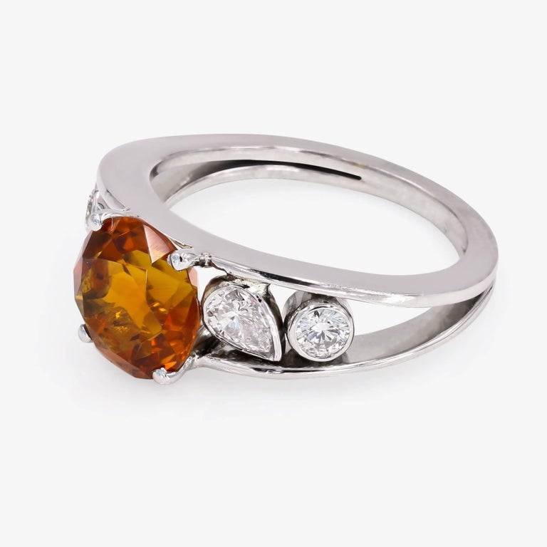 Round Cut 3.00 Carat Round Citrine and Diamond Ring For Sale