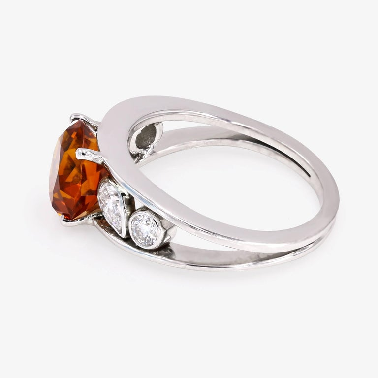 3.00 Carat Round Citrine and Diamond Ring In New Condition For Sale In Chicago, IL
