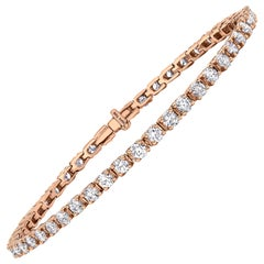 3.00 Carat Round Diamond 18 Karat Rose Gold Four Claw Tennis Riviera Bracelet