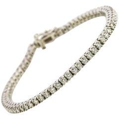 3.00 Carat Round Diamond Platinum Tennis Bracelet