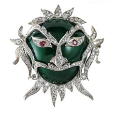 3.00 carat Ruby and Diamond 18k Gold Green Enamel Carnival Ornate Mask Brooch