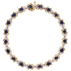 3.00 Carat Sapphire and Diamond Gold Line Bracelet Estate Fine Jewelry