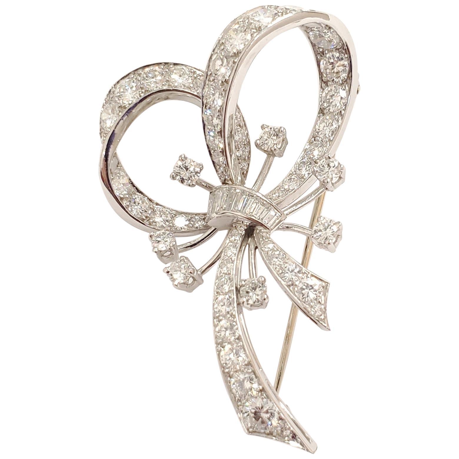 3.00 Carat Total Diamond Brooch in Platinum