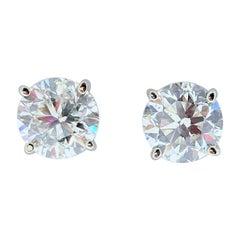 3.00 Carat Total Diamond Stud Earrings in 14 Karat White Gold