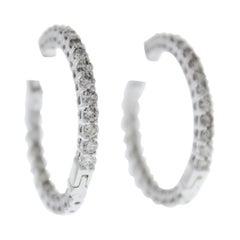 3.00 Carat Total Weight Diamond Inside-Outside Hoop Earrings in 14 Karat Gold