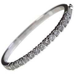 3.00 Carat Total Weight Platinum Hinged Bangle Bracelet
