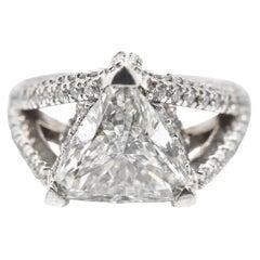 3.00 Carat Trillion Cut Diamond 14 Karat White Gold Engagement Ring