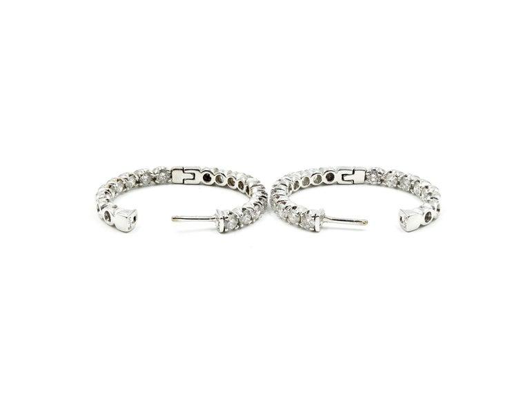 Round Cut 3.00 Carat Round Diamond Inside/Outside 14 Karat White Gold Hoop Earrings For Sale