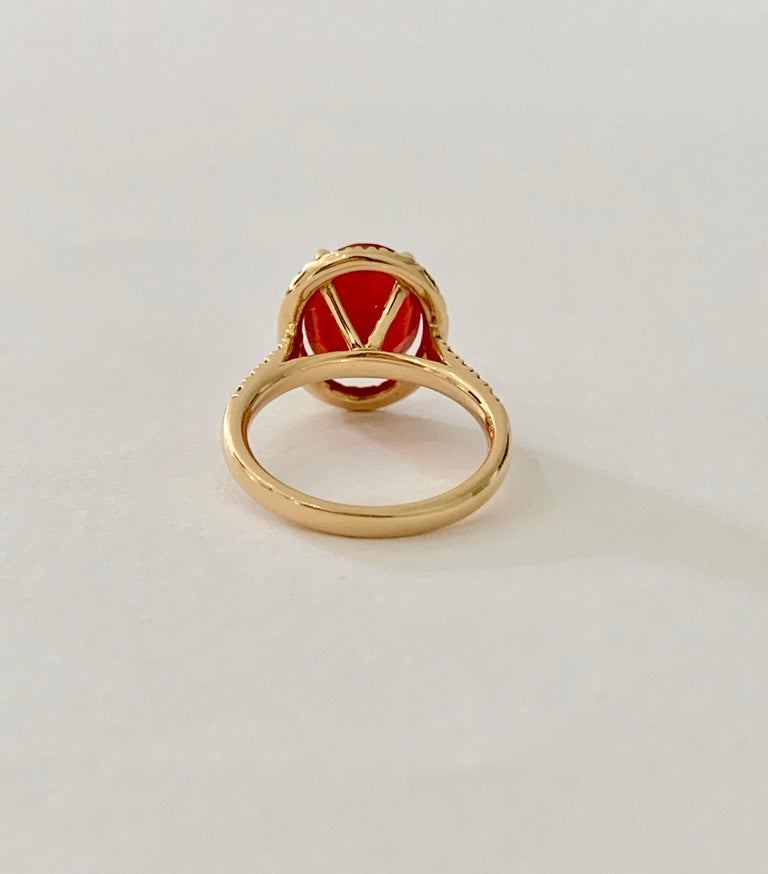 Modern 3.00 Carat AAA Oval Fire Opal Set in Diamond Halo Ring in 18 Carat Yellow Gold For Sale