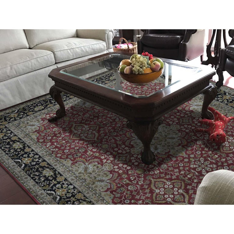 This is a truly genuine one-of-a-kind 300 Kpsi Kashan revival New Zealand wool hand knotted oriental rug. It has been knotted for months and months in the centuries-old Persian weaving craftsmanship techniques by expert artisans. Measures: 8'0
