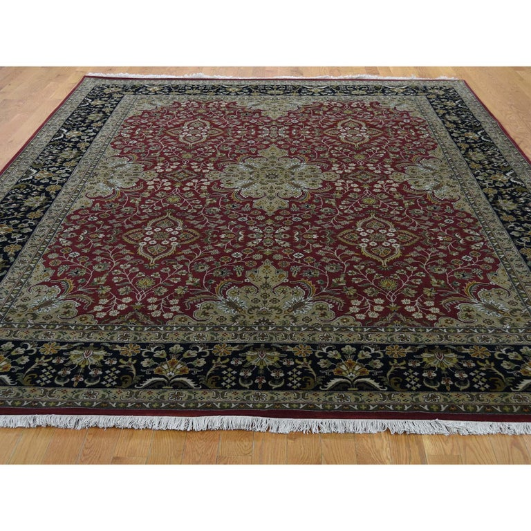 Afghan 300 Kpsi Kashan Revival New Zealand Wool Hand Knotted Oriental Rug For Sale
