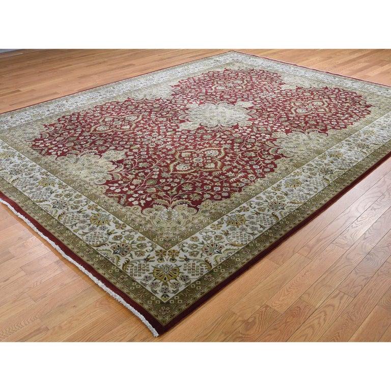 Afghan 300 Kpsi Kashan Revival New Zealand Wool Hand Knotted Oriental Rug For Sale
