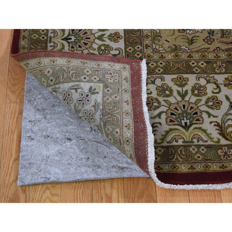 Hand-Knotted 300 Kpsi Kashan Revival New Zealand Wool Hand Knotted Oriental Rug For Sale