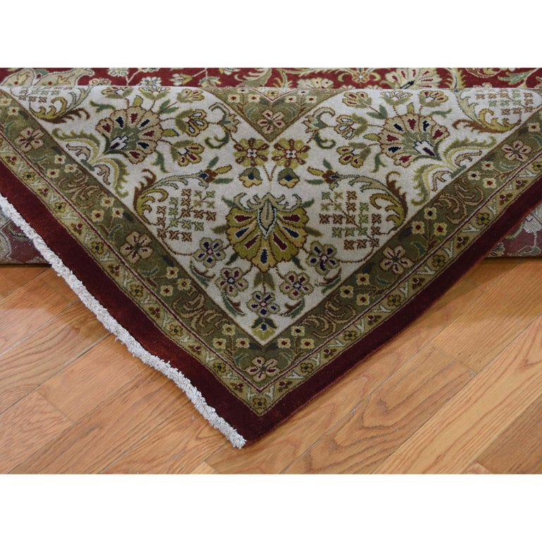 Contemporary 300 Kpsi Kashan Revival New Zealand Wool Hand Knotted Oriental Rug For Sale