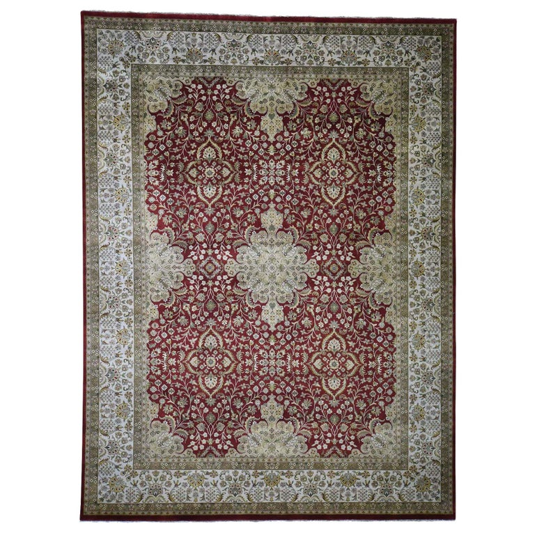300 Kpsi Kashan Revival New Zealand Wool Hand Knotted Oriental Rug For Sale