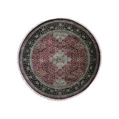 300 Kpsi Kashan Revival New Zealand Wool Round Hand Knotted Rug