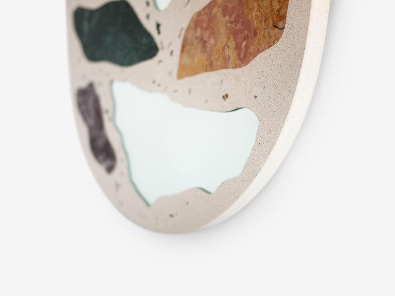 Modern #3000 Oval Mirror in Marble and Concrete Terrazzo by Trueing For Sale