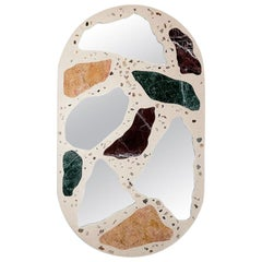 #3000 Oval Mirror in Marble and Concrete Terrazzo by Trueing