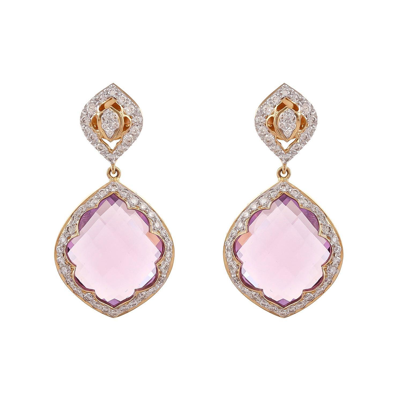 30.09 Carat Amethyst And Diamond 18kt Yellow gold Lotus Drop Diamond Earring