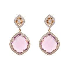 30.09 Carat Rose De 'France Lotus Drop Diamond Earring
