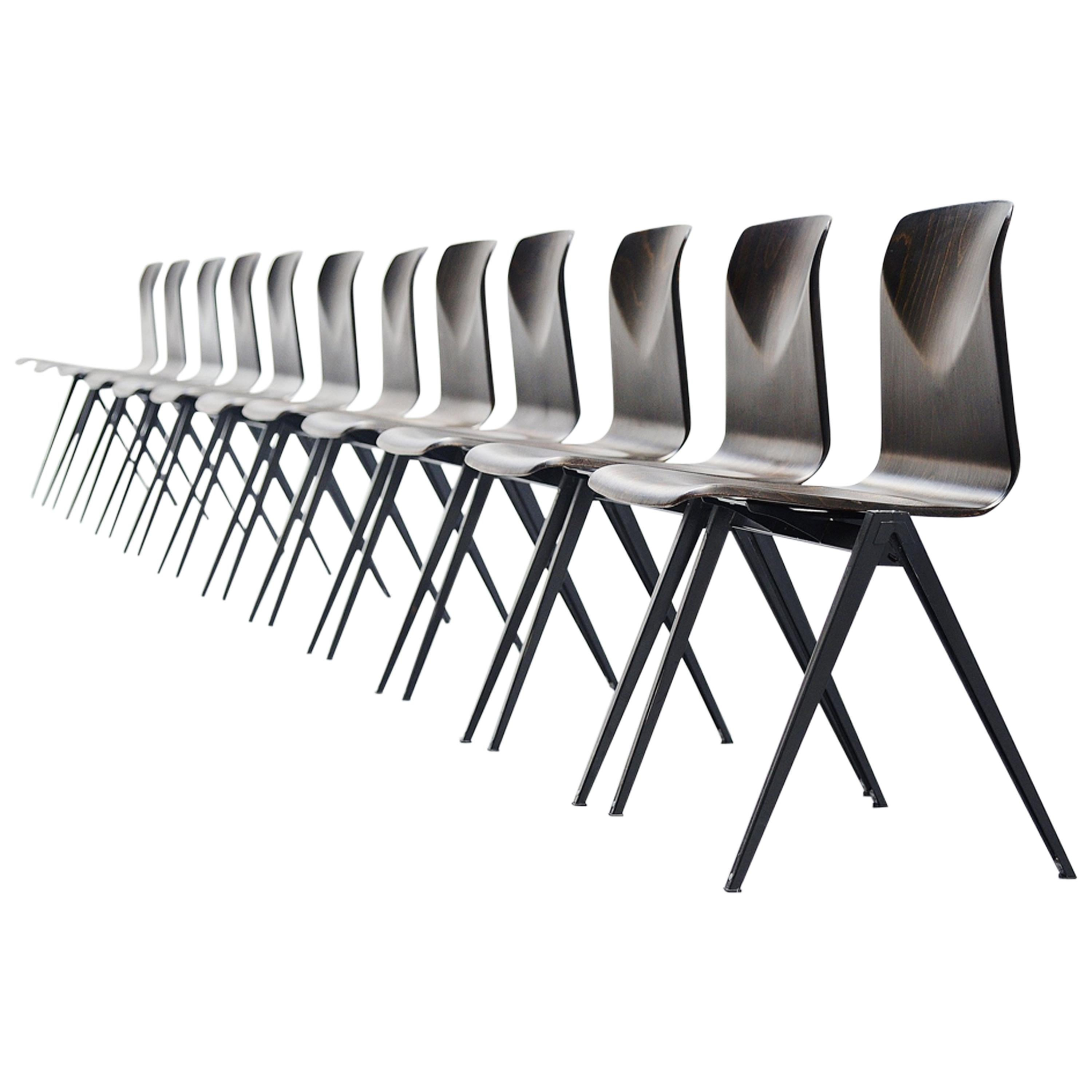 300x Pagholz Stacking Chairs Set Black, Germany, 1970