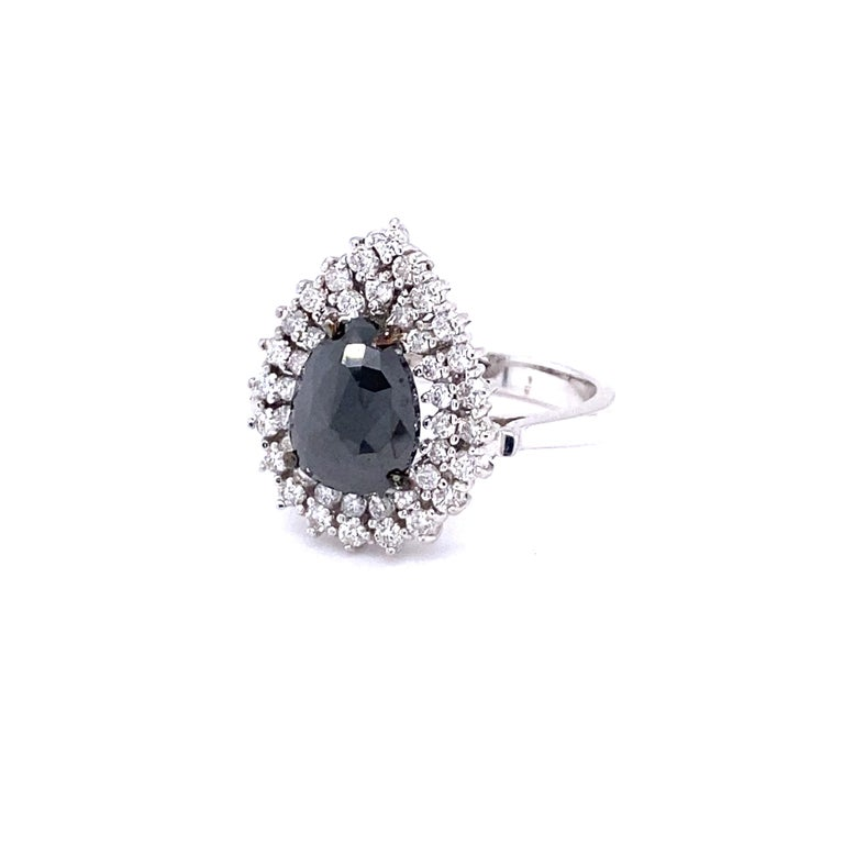 Modern 3.01 Carat Black and White Diamond Double Halo 14 Karat White Gold Bridal Ring For Sale