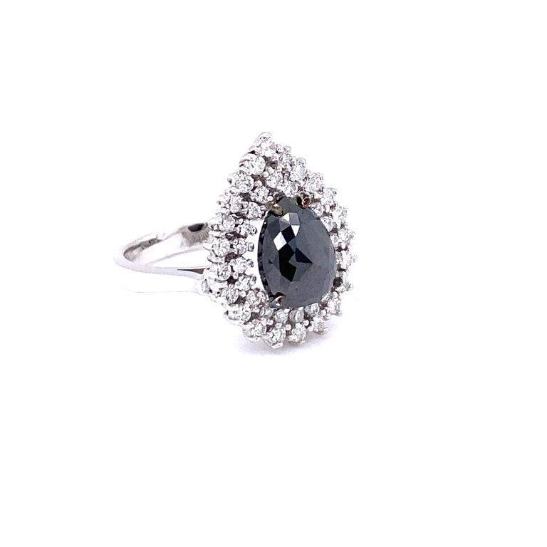 Pear Cut 3.01 Carat Black and White Diamond Double Halo 14 Karat White Gold Bridal Ring For Sale