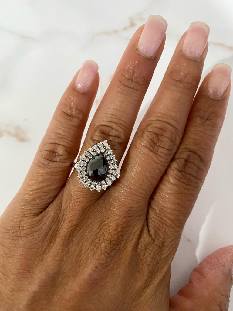 3.01 Carat Black and White Diamond Double Halo 14 Karat White Gold Bridal Ring In New Condition For Sale In Los Angeles, CA