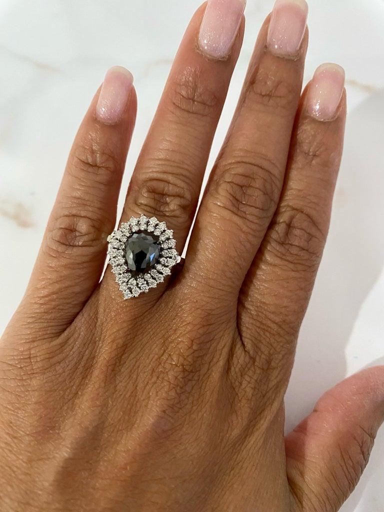 Women's 3.01 Carat Black and White Diamond Double Halo 14 Karat White Gold Bridal Ring For Sale