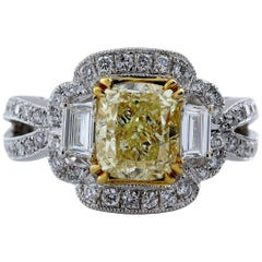 3.01 Carat Cushion Cut Natural Fancy Yellow Diamond Ring 14 Karat Gold