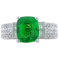 3.01 Carat Cushion Cut Tsavorite And Diamond Cocktail Ring In 18K White Gold