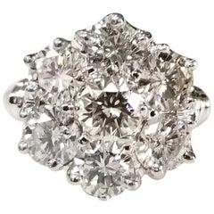 3.01 Carat Diamond Cluster 14 Karat 2-Tone Ring