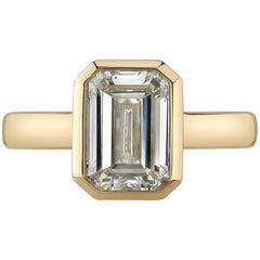 3.01 Carat Emerald Cut Diamond Set in a Handcrafted 18 Karat Yellow Gold Ring