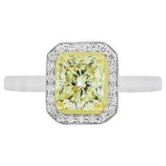 3.01 Carat Fancy Yellow Diamond Engagement Ring