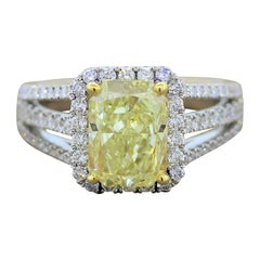 3.01 Carat Fancy Yellow Diamond Gold Engagement Ring