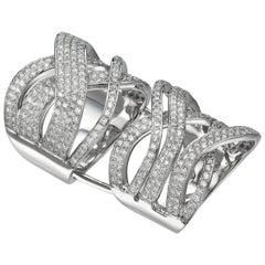 3.01 Carat Full Finger Diamond 18 Karat White Gold Cocktail Ring