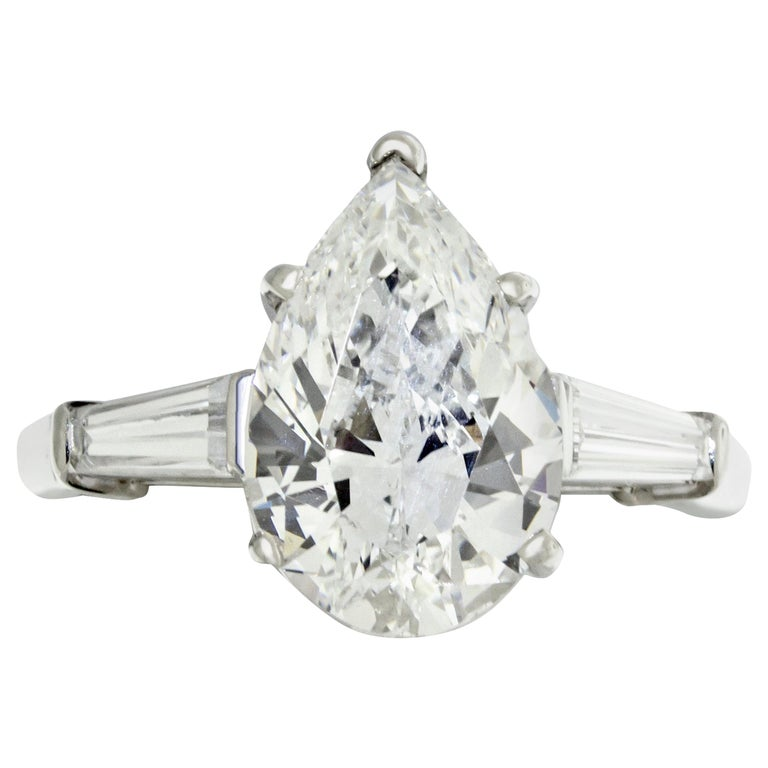 3.01 Carat GIA Certified Pear Shape Engagement Ring For Sale