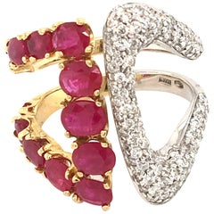 3.01 Carat of Ruby and 0.95 of Pave' Diamond Cocktail White and Yellow Gold Ring