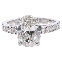 3.01 Carat Oval Cut Diamond Engagement Ring, in 18 Karat