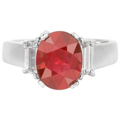 3.01 Carat Oval Cut Ruby and Diamond Ring