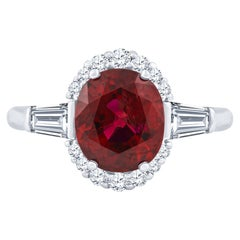3.01 Carat Oval Mozambique Red Ruby 'GIA' Ring with Round and Baguette Diamonds