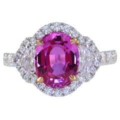 3.01 Carat Pink Sapphire and Diamond White Gold Three-Stone-Ring