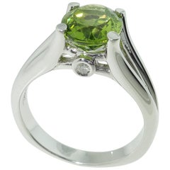 3.01 Carat Peridot and Diamond Solitaire Ring